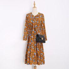 Печати цветочные Старинные платья С Длинными рукавами 2017 осень мода новый стиль весна ретро dress Vestidos халат женская одежда(China (Mainland))