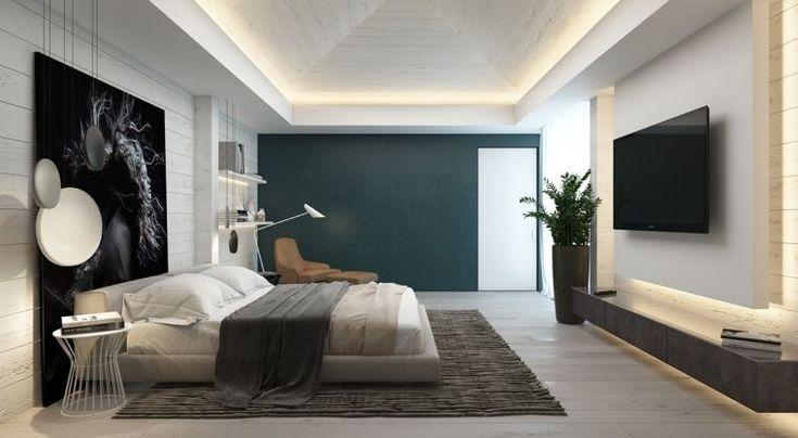 chambre contemporaine et couleur de déco de mur