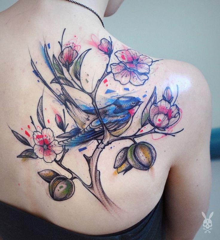 Bird Tattoo by Kati Berinkey  - ha az indákat faágakká alakítjuk