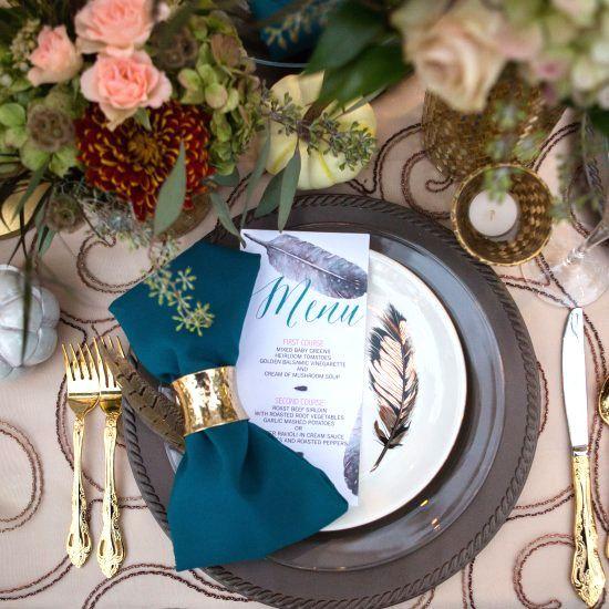 ネイビーがテーマのテーブルコーディネートの参考に♡エレガントな結婚式にしたい♡ネイビーのメニュー表まとめ一覧♡