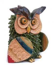 Green owl (5in) of La Terra Incantata Entirely handmade, modeled, caged, etched and coloured with ceramic Varnishes on effects and ceramic varnishes. It was created following the ancient Technics of the traditional Ceramic from Grottaglie.
