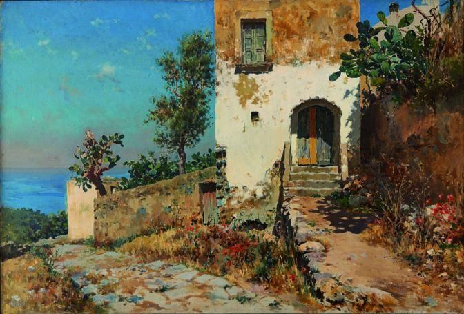 Antonino Leto Case di Anacapri 1910 olio su tela