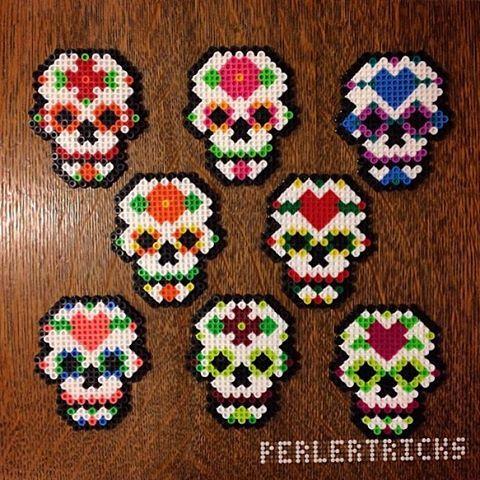 Sugar Skulls original perler design by perlertricks