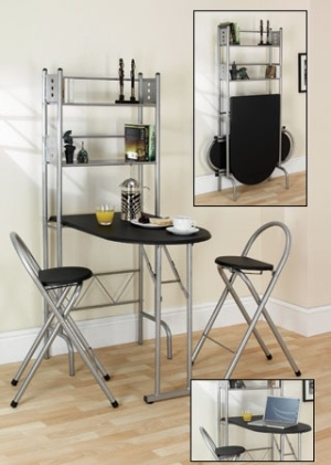Breakfast Bar Table  fold away with folding chairs by
