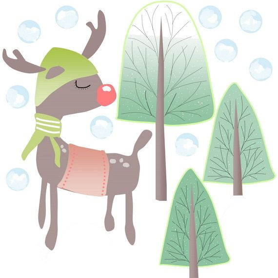 Wall Decals Kids, Nursery Wall Decals, Wall Decals for Girls, Decals for Boys, Christmas Decals, Animals Wall Decals, Reindeer, Etsy Decals  Reindeer Wall Decal is good for any season but extra perfect for Winter.    It contains 14 stickers:  1 Reindeer H - 20(51cm) L - 13(33cm) 3 Winter Trees H - 17(43cm) L - 8(20cm) 10 Snowballs H - 2(5cm)   It will take approx 40 (102cm) x 40 (102cm) of space on your wall.  Your order will arrive in a poster tube.  Actual printed color may differ very…