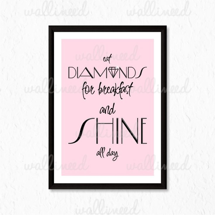 Eat Diamonds For Breakfast And Shine All Day Quote Canvas Print