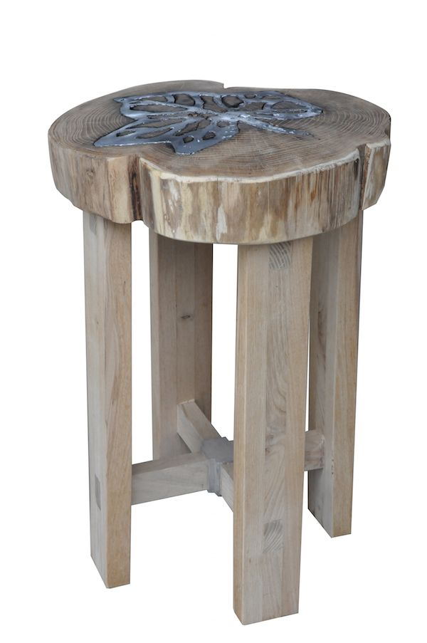 """""""Titano"""" - Stool by Livyng Ecodesign  aluminum melted on wood"""