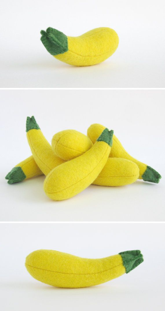 Baby gifts Felt Squash Yellow Zucchini 1 pc Kitchen toy by MyFruit $5