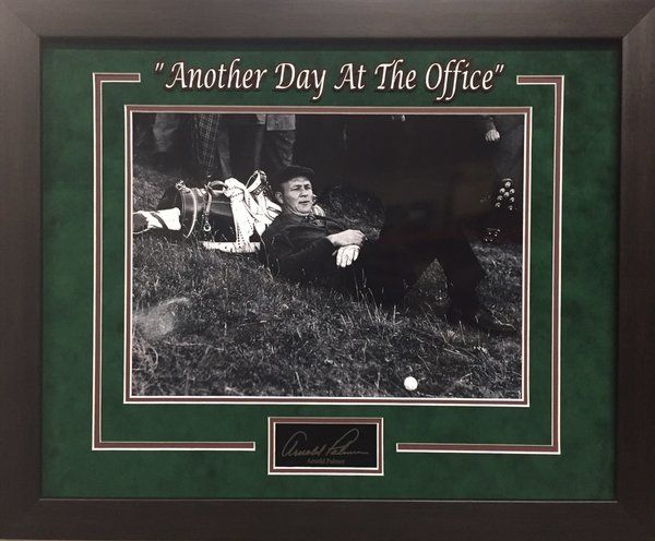 "Arnold Palmer ""Another Day At The Office"" Engraved Autograph Replica - Resting at Golf Course - UV Protectant Glass - Overall Framed Size 19x23 - $99 FREE SHIPPING ON ALL ORDERS  #ArnoldPalmer #Palmer #golf #PGA #Masters #APInv #Masters #iconmemorabilia #iconsandlegendsmemorabilia #framedart #memorabilia #sportsmemorabilia #golfmemorabilia #freeshipping"