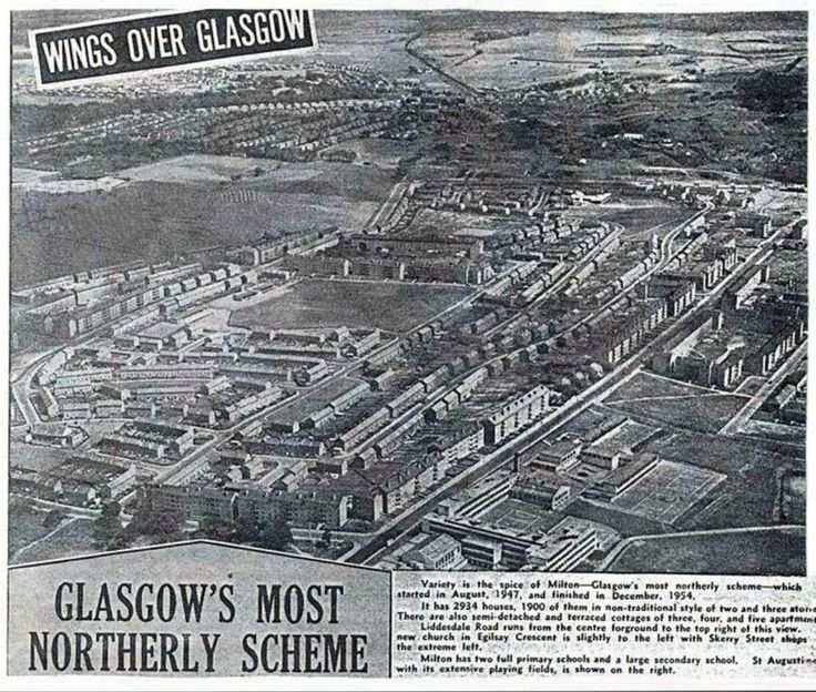 A sky view of Milton 1954 When the scheme was completed taken from above St Augustine secondary school