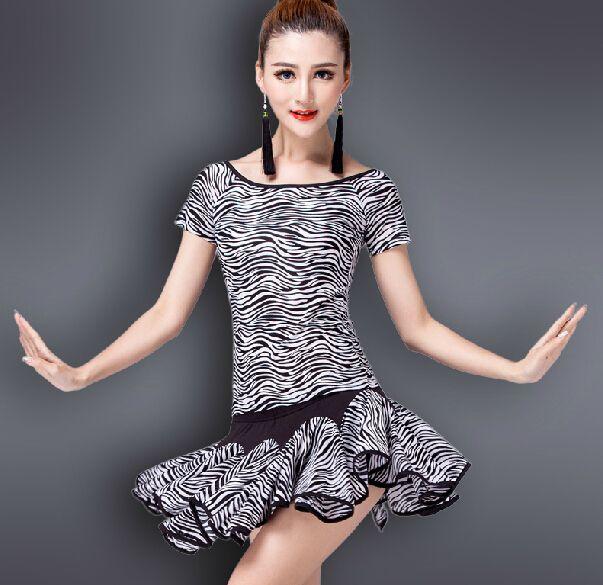 бесплатная доставка 1 комплект дам латинских танцев юбка элегантный вальс бальный танец платье зебра