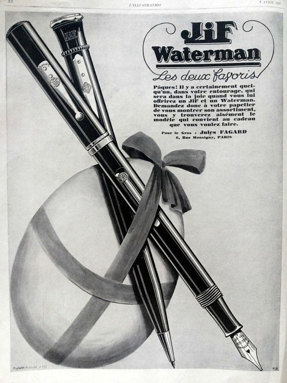 Jif Waterman fountain pen original advertising page by OldMag, $10.00