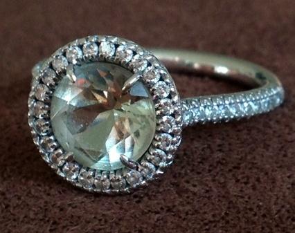 engagement ring: diamonds, green amethyst