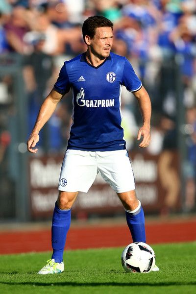 Sascha Riether of Schalke runs with the ball during the friendly match between DSC Wanne-Eickel and FC Schalke 04 at Mondpalast Arena on July 19, 2016 in Herne, Germany.