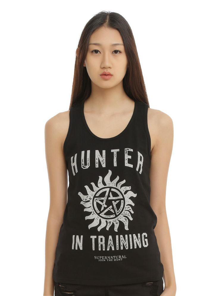 "<p>For all you hunters in training, this <i>Supernatural</i> tank top will help you get on the Winchester's level.</p>  <p>Black racer back tank top from <i>Supernatural</i> with an anti-possession symbol & text design that reads ""Hunter In Training.""</p>  <ul> 	<li>100% cotton</li> 	<li>Wash cold; dry low</li> 	<li>Imported</li> 	<li>Listed in junior sizes</li> </ul>"