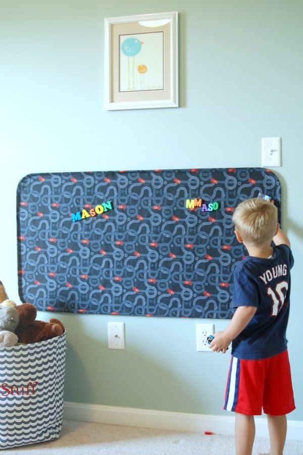 Great magnet play board for kids - fabric-covered repurposed oil pan means inexpensive, huge, and fabulous.
