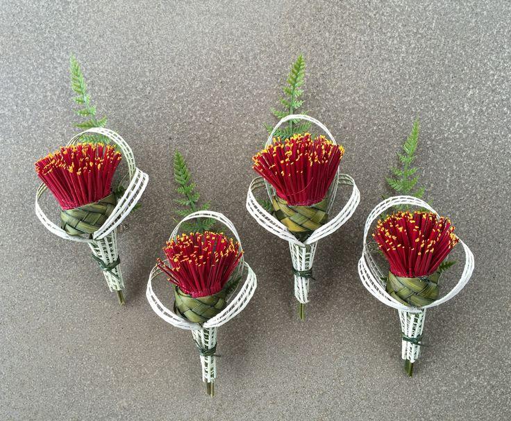 Pohutukawa buttonholes  www.flaxation.co.nz