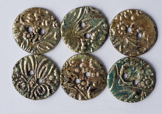6 ceramic buttons raku buttons floral pattern set of