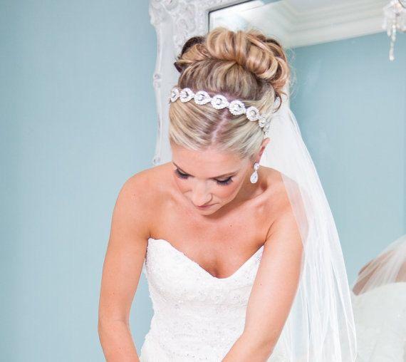 Preciosa diadema de novia novia pedazo de cabeza diadema de