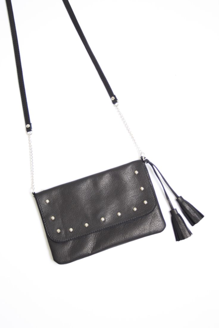 Mini leather shoulderbag with studs, handmade in the Netherlands, one off, exclusive, www.bruijs.com
