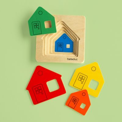 This puzzle was a great hit with my 1 year old this year.  She had fun putting the houses in, if she missed one, you could see her wheels turning as she figured out how to fix it. It is just big enough to take up some good space in an infant-toddler's stocking as they may get overwhelmed by too many items.