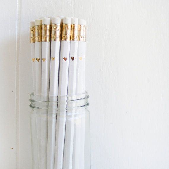 jar of 30 white pencils with gold foil petite by lettercdesign, $26.75