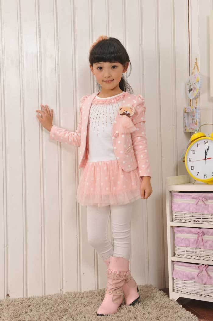Aliexpress.com : Buy Free Shipping Little Girls Suit Cute Little Bear Jacket + Dot Lace Trim Tshirt K0243 from Reliable Girls Winter Clothing suppliers on SICIBAY - Women's Clothing : Selling for Donating