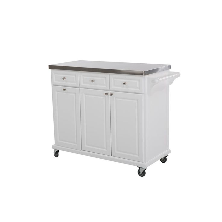 Buckhead Charcoal (Grey) Body with Stainless Steel Top Kitchen Cart with 1 Towel Bar 3 Drawers and 3 Cabinets