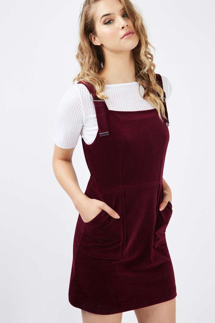 Burgundy Corded Velvet Pinafore Dress - Topshop