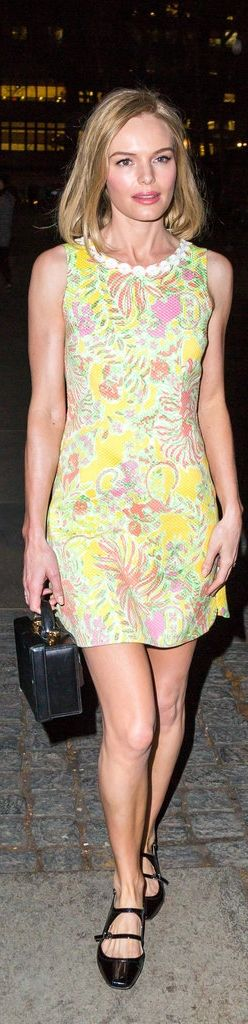 Kate Bosworth wearing a Lilly Pulitzer for Target dress and Mark Cross Grace Smooth Calfskin Box Trunk.