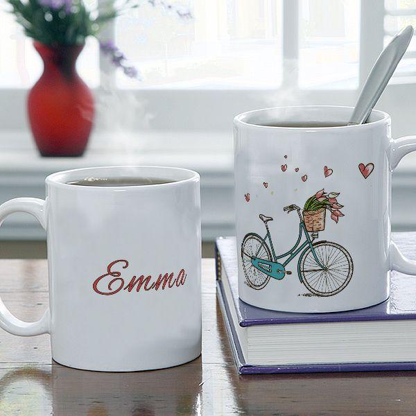 Egyedi neves vintage bicikli mintás bögre - A romantika kedvelőinek ajánljuk egyedi neves bögrénket! Bármilyen névvel megrendelhető! - Egyedi fényképes ajándékok webáruháza - www.kepesajandekom.hu