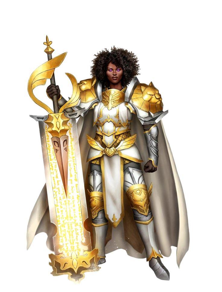 Female Black Human Paladin Knight - Pathfinder PFRPG DND D&D 3.5 5th ed d20 fantasy