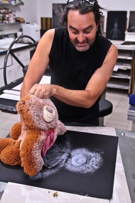 "Teddy bear prints! Melbourne based artist Geoffrey Ricardo ""who specialises in sculpture and prints"" in residence at the Art Vault in Mildura (country Australia)."