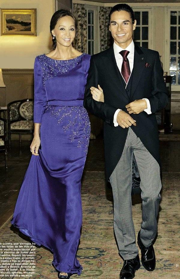 Isabel Preysler escorting her son Julio Iglesias Jr. to his wedding to Charisse Verhaert 2013