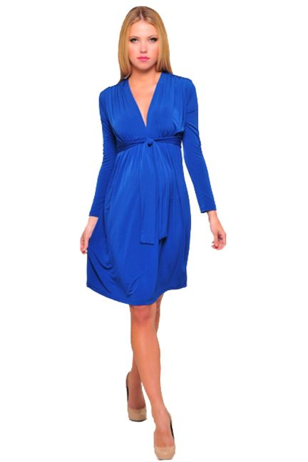 Olian Kora Long Sleeve Front Tie Maternity And Nursing Dress | Maternity Clothes  Available at Due Maternity www.duematernity.com