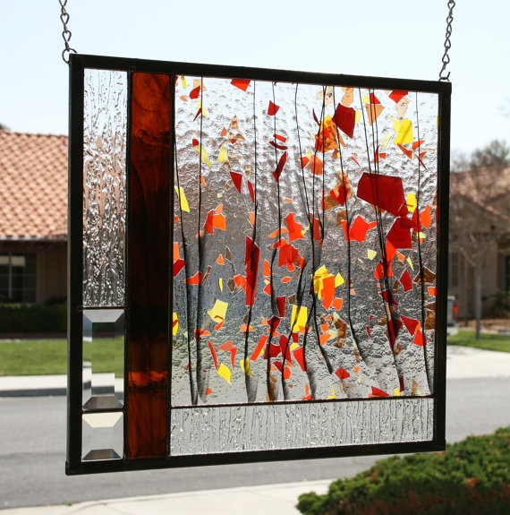 AUTUMN  Abstract Stained Glass Window Panel with by gallerydelsol, $82.00 fused glass?!