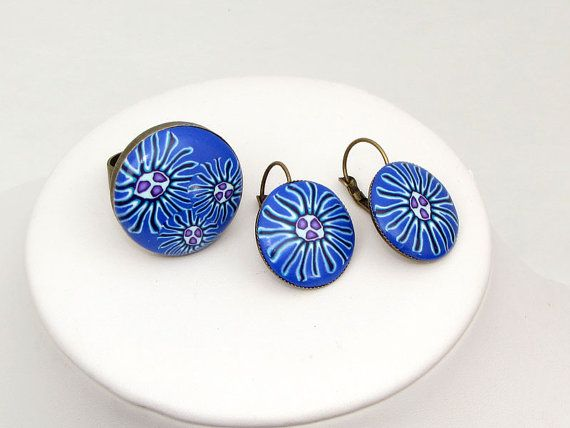 earring and ring Set Polymer clay Ring und Ohrringe Millefleur von polymerdesign