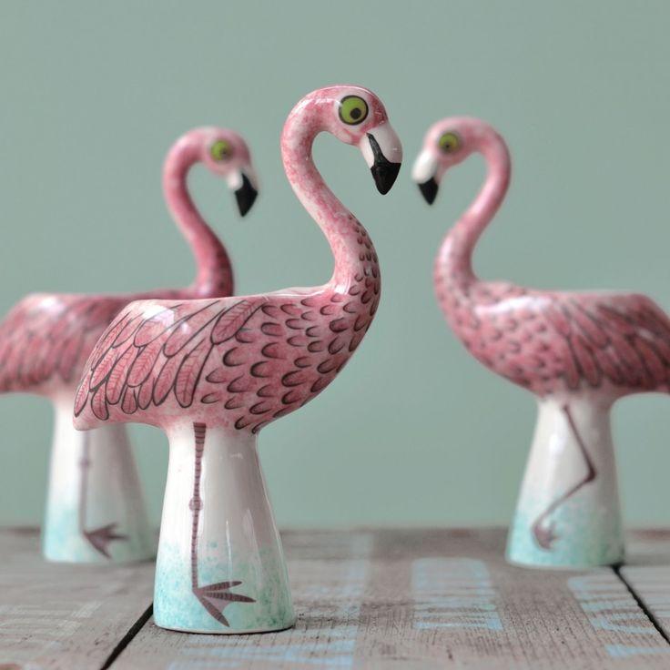 Ceramic Handpainted Flamingo Egg Cup
