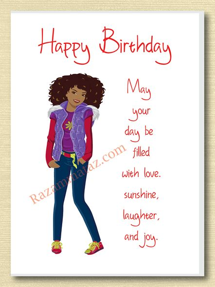 African American Girl Birthday Card F