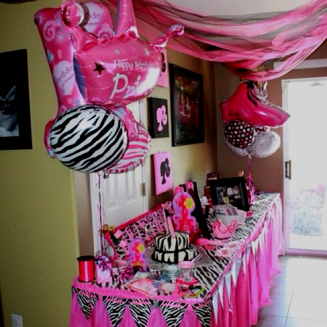 Barbie zebra theme 1st and 5th birthday bday party ideas for 5th birthday decoration ideas
