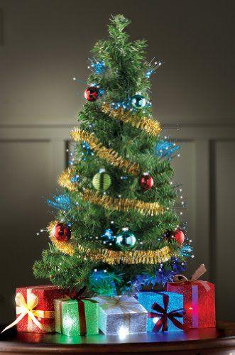 Decorated Fiber Optic Christmas Tree