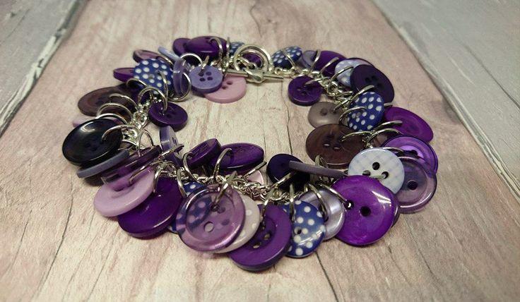Purple charm style button bracelet by FolbarJewellery on Etsy
