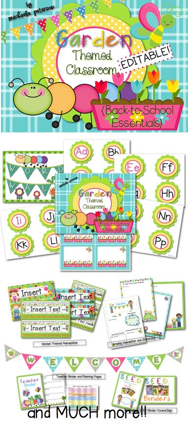 Garden Paradise Themed Classroom Decor {Editable}.   This pack has everything to transform your classroom into a colorful garden paradise! Over 160 pages!!  Garden themed behavior chart, name tags, word wall, alphabet line, newsletter, SEED Binder, and so much more!