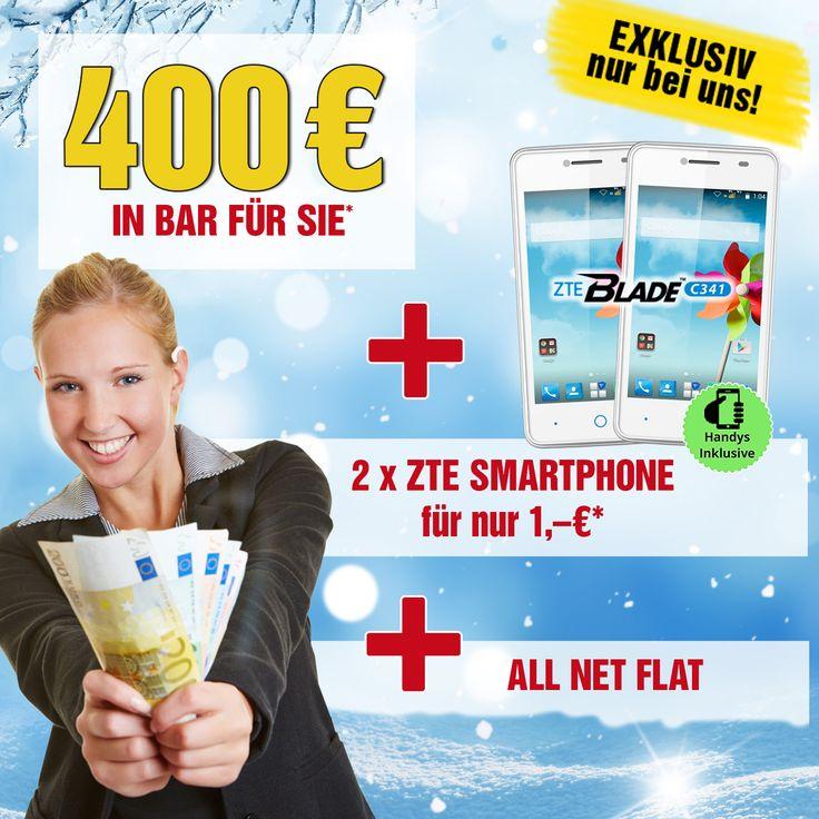 2x ZTE Blade C341 + 400 € Bargeld mit Vertrag / Handyvertrag / Handy mit Vertrag