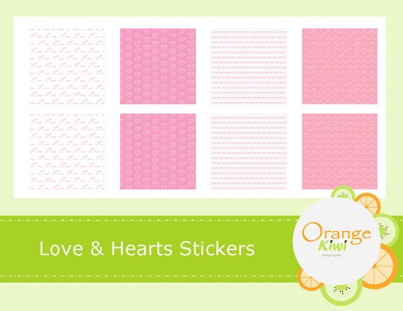 Love & Hearts Washi Style Stickers  Love by OrangeKiwiDesign