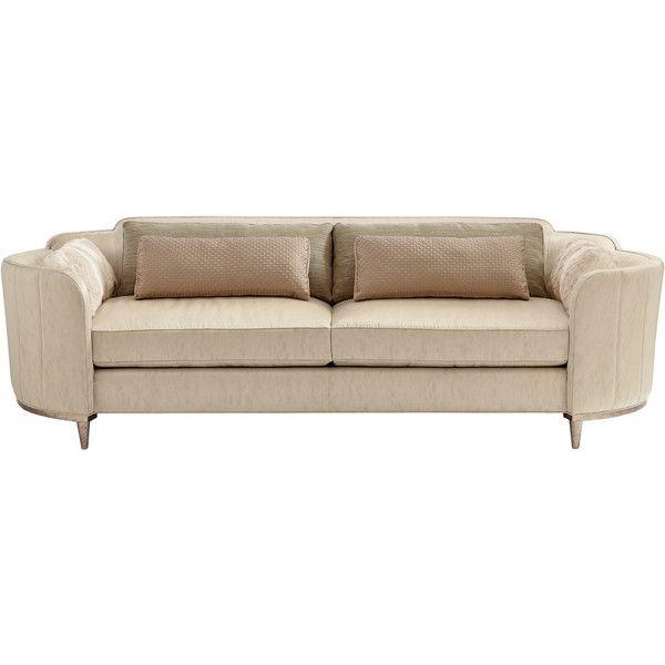Cherish Modern Round Barrel Beige Velvet Sofa (u20ac3.920) ❤ Liked On Polyvore  Featuring