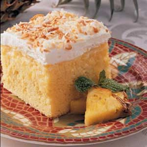 Hawaiian Cake Recipe     1 package (18-1/4 ounces) yellow cake mix  1-1/4 cups cold 2% milk  1 package (3.4 ounces) instant vanilla pudding mix  1 can (20 ounces) crushed pineapple, drained  1 envelope whipped topping mix (Dream Whip)  1 package (3 ounces) cream cheese, softened  1/4 cup sugar  1/2 teaspoon vanilla extract  1/2 cup flaked coconut, toasted  Directions  Prepare and bake the cake according to package directions, using a greased 13-in. x 9-in. baking pan. Cool on a wire rack…