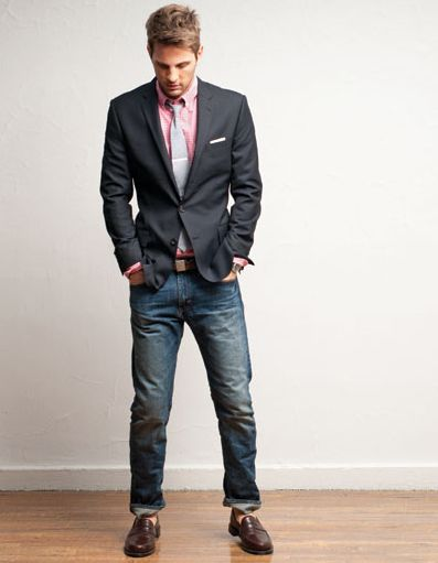 Cool looking outfit. Blazer with jeans and pink shirt.. Nice