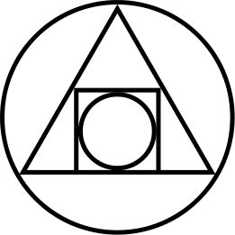"""PHILOSOPHER'S STONE - 17th century glyph illustrates the blending of geometric shapes, elemental symbols and astrological signs. Each part representing the various """"elements"""" and forces needed for magical work in the quest for physical transformation and spiritual illumination and immortality."""