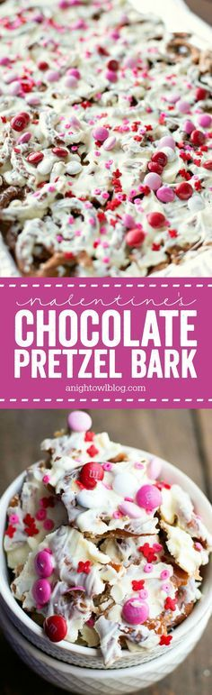 This Valentine's Chocolate Pretzel Bark is the perfect combination of salty and sweet in one delicious treat! Made with Utz Pretzels and Ghirardelli White Chocolate Chips from #WorldMarket. #WorldMarketTribe